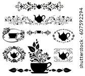 black tea. collection of design ... | Shutterstock .eps vector #607592294