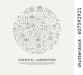chemical laboratory equipment... | Shutterstock .eps vector #607592921