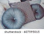 pillow on sofa decoration... | Shutterstock . vector #607595015