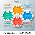 vector abstract 3d paper... | Shutterstock .eps vector #607595075