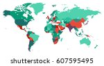 world map with countries... | Shutterstock .eps vector #607595495