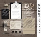 corporate identity stationery... | Shutterstock .eps vector #607595651