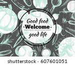 poster with organic products.... | Shutterstock .eps vector #607601051