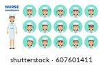 big set of nurse emoticons....   Shutterstock .eps vector #607601411