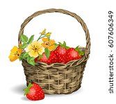 basket with strawberries on a... | Shutterstock .eps vector #607606349