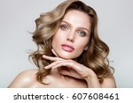 beauty portrait of model with... | Shutterstock . vector #607608461