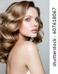 beauty portrait of model with... | Shutterstock . vector #607618067