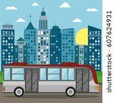 bus transport city sun | Shutterstock .eps vector #607624931