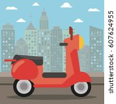 scooter transport city night | Shutterstock .eps vector #607624955