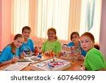 children on vacation children's ... | Shutterstock . vector #607640099