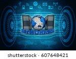 3d rendering computer network  | Shutterstock . vector #607648421