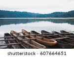 traditional wooden boats at the ... | Shutterstock . vector #607664651