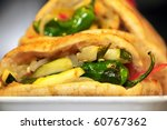 a vegetables sandwich served as tapas in Spain - stock photo