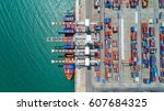 container container ship in... | Shutterstock . vector #607684325