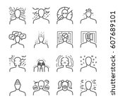 mental disorders line icon set. ... | Shutterstock .eps vector #607689101