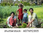 indian farmer with family...   Shutterstock . vector #607692305