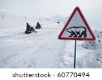 Road Sign With Polar Bear  ...