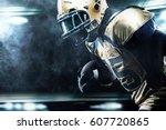 american football sportsman... | Shutterstock . vector #607720865