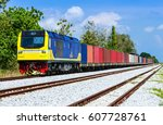 container freight train | Shutterstock . vector #607728761