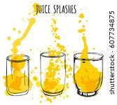 juice splashes in glasses  hand ... | Shutterstock .eps vector #607734875