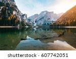 amazing view of lago di braies  ... | Shutterstock . vector #607742051