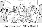 sketch of ballerina with... | Shutterstock . vector #607748984