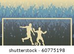 Editable vector illustration of a cheering crowd watching a penalty kick in a soccer match - stock vector