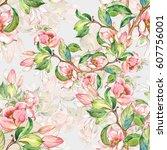 seamless pattern of flowering... | Shutterstock . vector #607756001