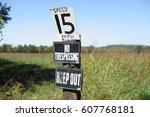 old signs in field. | Shutterstock . vector #607768181