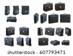 Small photo of Set of briefcases at different angles