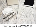 office desk table with laptop ... | Shutterstock . vector #607803911