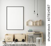 mock up poster frame in... | Shutterstock . vector #607814087
