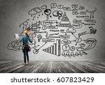 back view of engineer woman in... | Shutterstock . vector #607823429