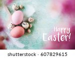easter greeting card  | Shutterstock . vector #607829615