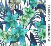 vector blue vintage floral... | Shutterstock .eps vector #607840589