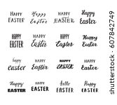 easter hand drawn calligraphy ... | Shutterstock .eps vector #607842749