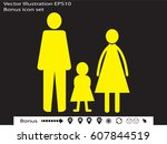 family  people  icon vector... | Shutterstock .eps vector #607844519