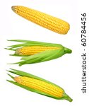 Set Of Corn Isolated On White...