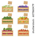 wooden boxes of vegetables.... | Shutterstock .eps vector #607860479