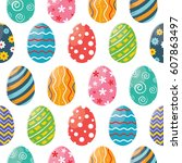 seamless pattern with colorful... | Shutterstock .eps vector #607863497