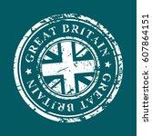 great britain grunge rubber...   Shutterstock .eps vector #607864151