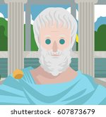 great greek philosopher in... | Shutterstock .eps vector #607873679
