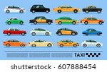 taxi cab icons set poster or... | Shutterstock .eps vector #607888454