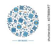 music themed circle pattern... | Shutterstock .eps vector #607888697
