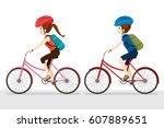 woman and man riding bicycle ... | Shutterstock .eps vector #607889651