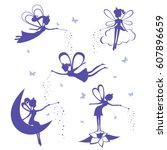 Cartoon Fairy Silhouette Vecto...
