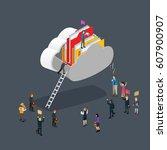 business cloud computing... | Shutterstock .eps vector #607900907