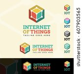 internet of things logotype | Shutterstock .eps vector #607903565