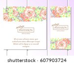 invitation with floral... | Shutterstock . vector #607903724
