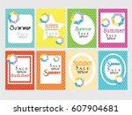 summer template. vector... | Shutterstock .eps vector #607904681